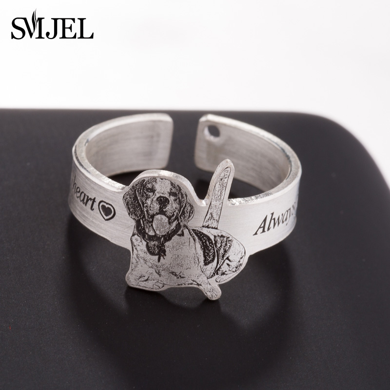 SMJEL 925 Sterling Silver Custom Ring Name Photo Custom Jewelry Personalized Pet Rings for Women Birthday