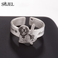 SMJEL 925 Sterling Silver Custom Ring Name Photo Custom Jewelry Personalized Pet Rings for Women Birthday Gift Bijoux