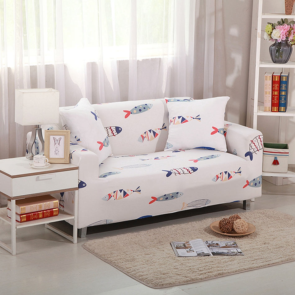 Fish pattern sanding stretch sofa covers for living room universal ...