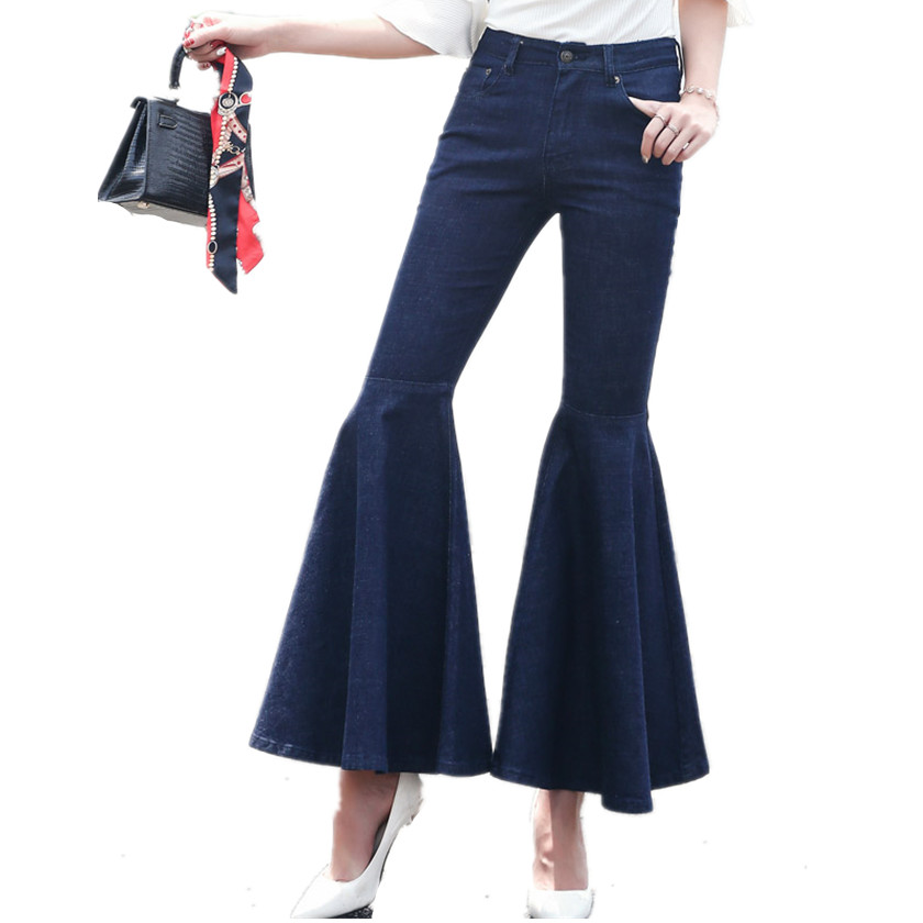 цена на 2017 New Jeans Women Pant Autumn Joint Fishtail Slim Flare Pants High Waist Dark Blue Trouser Full-Length Pants Hot Sale B77905A