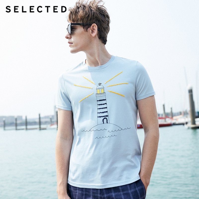 SELECTED Men's Summer 100% Cotton Embroidery Print Short-sleeved T-shirt S 419201501