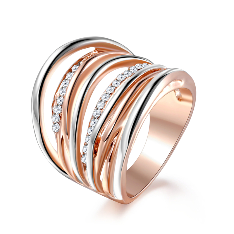 BUYEE Brand New Fashion Jewelry Rose Gold Color Cross Rings For Women Size 6 7 8 Female Party Finger Ring