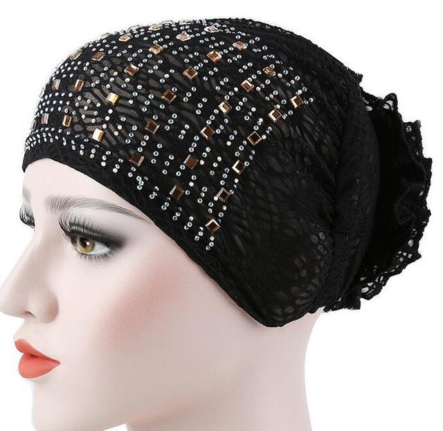 Hijab tapa de encaje sombrero con flor de diamantes de imitación frente diadema sombrero interior 8 colores 10 unids/lote envío gratis