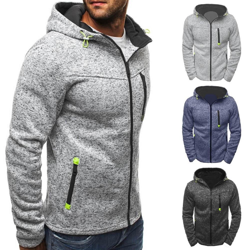 Fashion Men Winter font b Slim b font Hoodie Warm Hooded Sweatshirt Zipper Up Coat Jacket