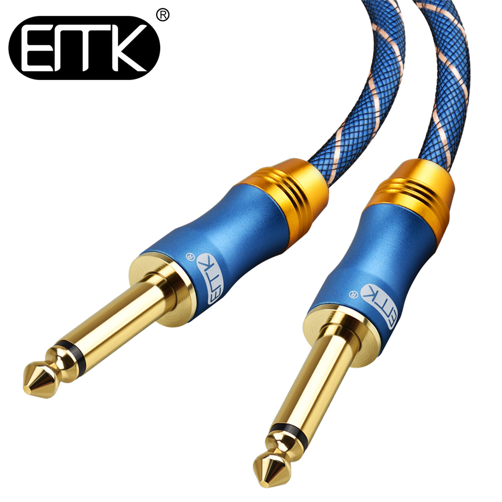 EMK 6.5 Jack Audio Cable 6.3 Aux Cable Nylon Braided 6.35 Jack Male to Male mono guitar Cable 1m 3m 5m 10m for Mixer Amplifier driver free usb guitar audio cable 3m length