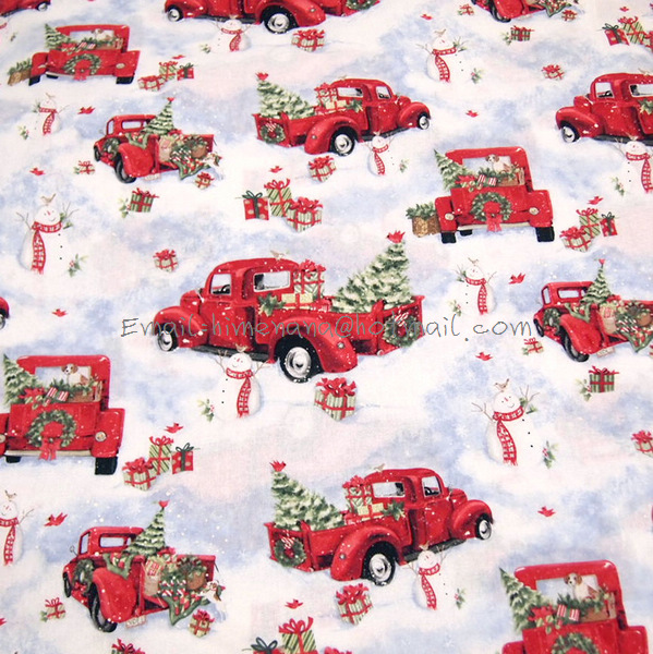Free Christmas Tree Pick Up Part - 18: Free Shipping* Jt073 - 1 Yard Cotton Woven Fabric - Red Pick Up Truck Winter