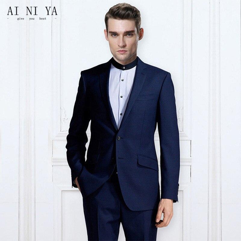 Пиджаки брюки жилет 2 шт. модные комплекты Для Мужчин's Повседневное темно-синий Бизнес свадебные Женихи Для мужчин пиджак пальто, брюки инди...