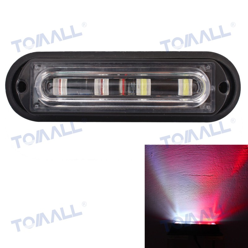5.5 Warning Light Bar Waterproof 12W Truck Side Marker Lamps White+Red 4LED Auto Car 18 Flash Patterns Light DC 12V 24V waterproof 72w 4300lm 6000k 24 led white light car work project diy light bar dc 10 30v