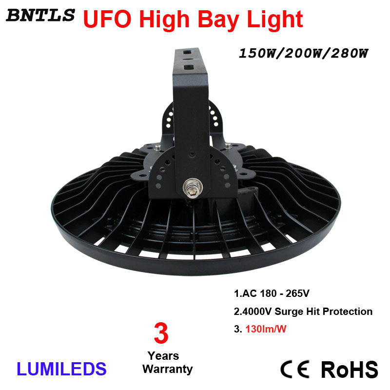 150W LED High Bay Lights UFO Commercial Lighting,19500LM,Daylight White 6000K,AC 185-240V 120 Beam Angle,IP65 Waterproof