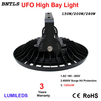 150W200W LED High bay Lights UFO Commercial Lighting,19500LM,Daylight White 6000K,AC 185-240V 120 Beam Angle,IP65 Waterproof