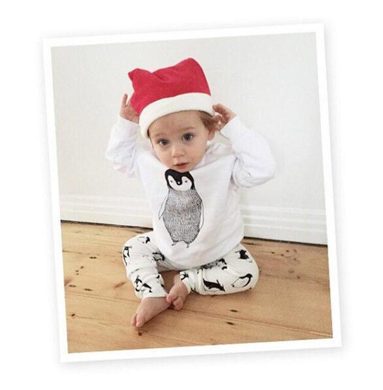 Baby boy girl clothes set Cotton Long sleeved ropa de bebe girls clothing set Tops+ pants+ Chrismas Hat baby clothes 3pcs suit