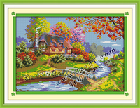 Country House Embroidery Thread Cross Stitch Frame Patterns Paintings Kits Needlework Diy Dmc Cross Stitch Landscape