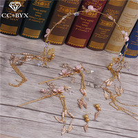 CC Jewelry Crowns Tiaras Coroa 5pcs Sets Earrings Hairband Hair Stick Handmade For Women Wedding Hair Accessories Brides 9747