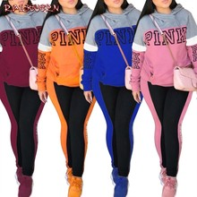Winter Women Pink Letters Suits Tracksuit Women 2019 Casual Long Sleeve Hoodies Sweatshirt And Long Pants Two Piece Set Women(China)