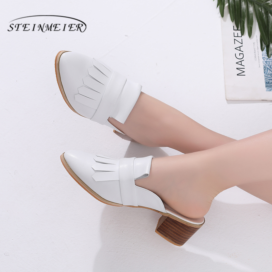 100 Genuine cow leather designer vintage lady Sandals casaul shoes handmade oxford shoes for women white