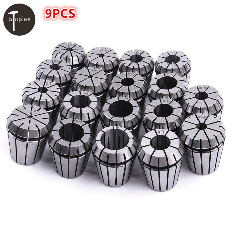 9PCS/set ER32 Precision Spring Collet Set 4/6/8/10/12/14/16/18/20mm CNC Milling Drilling Tapping Processing Clamping Tools