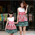 2016 Denim Jacket Sleeveless Dresses Family Look Matching Mother Daughter Clothes Dress Family Matching Outfits