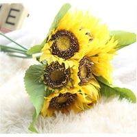 1 Peça Girassol Flores Artificiais Buquê De Casamento Subiu Buquês De Noiva Falso Flor Casa Decoração de Casamento