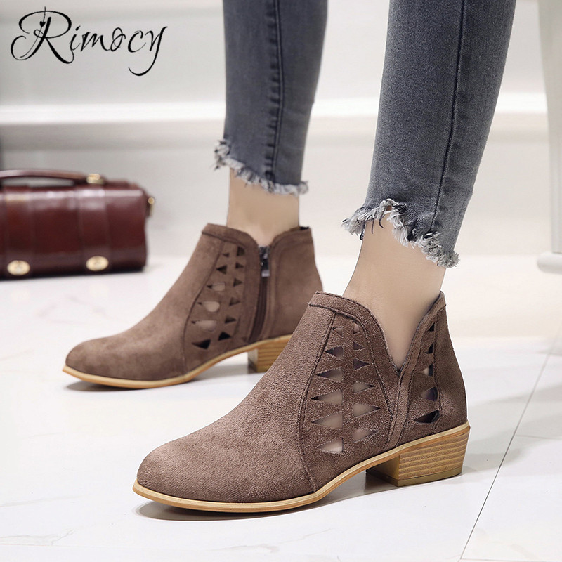Rimocy 2019 spring hollow out single shoes woman faux suede round toe square heels pumps women 4cm med heels casual shoes femme 26