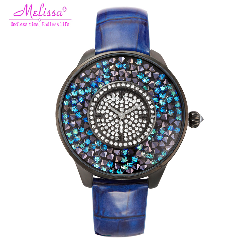 Luxury Style Melissa Lady Women's Watch Rhinestone Crystal Fashion Hours Dress Leather Bracelet Big Clock Girl Birthday Gift Box цена