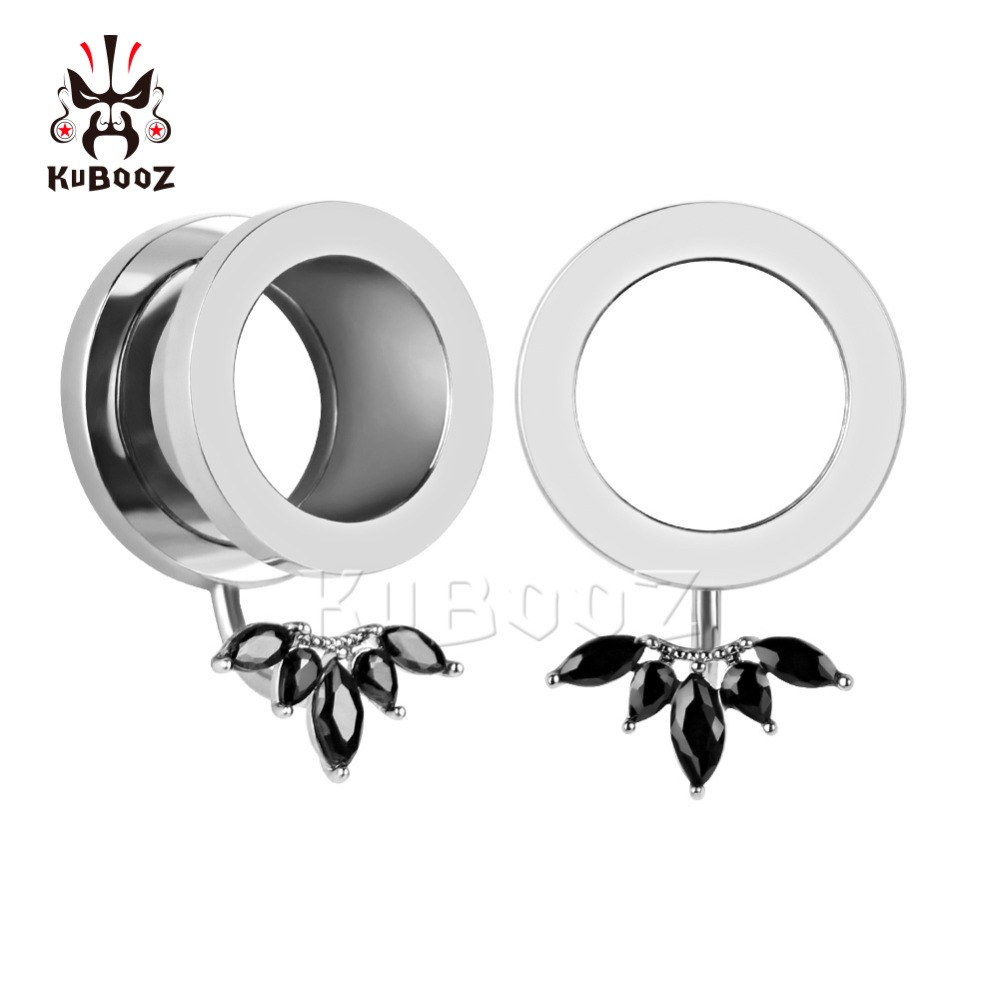 4 Pairs Surgical Steel Skull Ear Tunnels and Plugs 2g 0g 00g Earrings Gauges Expander Plugs for Ear