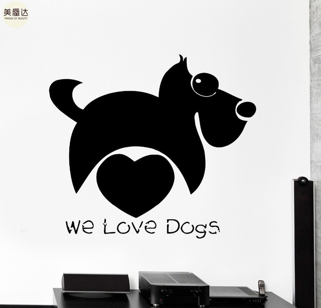 Wall Stickers Dog Funny Animal Love Kids Pets Decor Mural Vinyl Decal