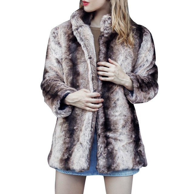 a5c5975a936 Plus Size Women Fashion Fluffy Shaggy Faux Fur Warm Winter Coat Cardigan  Bomber Jacket Lady Coats