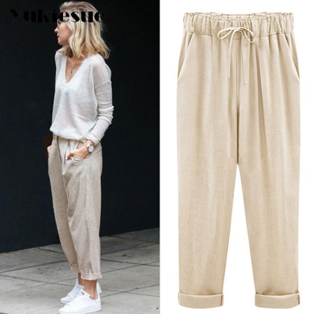 aa7a6f44127 Harem pants capris women 2018 summer style high waist loose candy color  cotton linen pants female trousers Plus size M-6XL