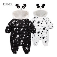 2017 Winter Newborn Baby Clothes Hooded Infant Baby Rompers Boy and Girl Long Sleeve Winter Romper Overalls Baby Clothing Set