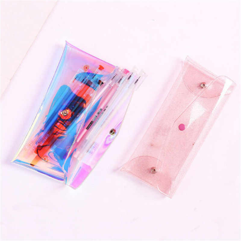 Новинка 2019 года, простые Прозрачные лазерные сумки, красивый Карандаш для девочек, корейские маленькие свежие студенческие яркие цвета, модный Складной футляр для косметики