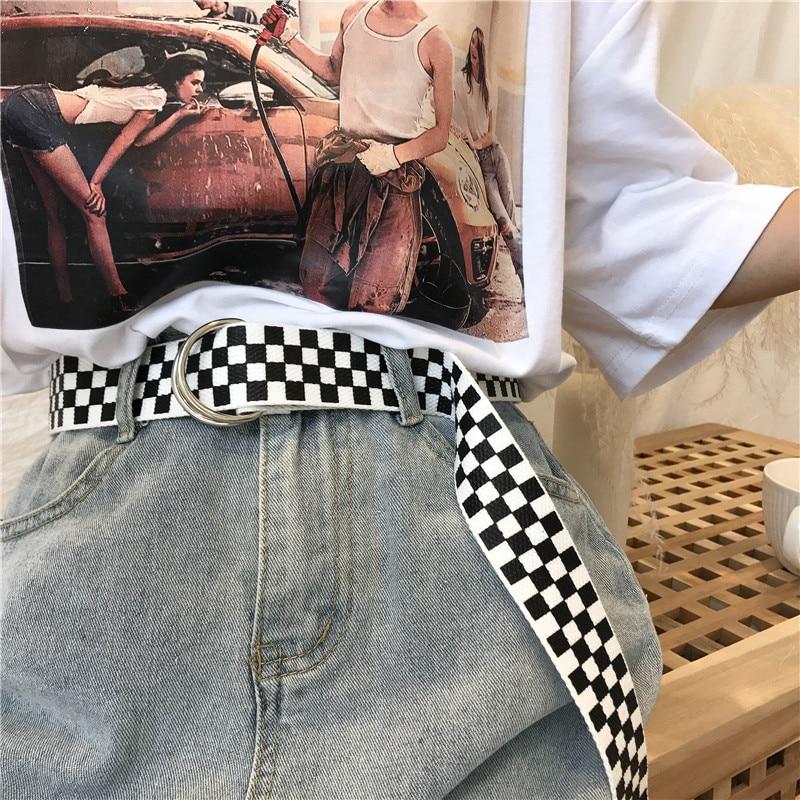 Fashion Belt Double-Buckle-Belts Canvas Female Classic Chic Hip-Hop Harajuku Korean Plaid
