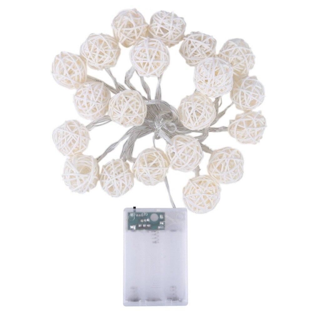 Milad Xmas üçün 20 LED İsti Ağ Rattan Top Simli Nağıl - Şənlik aksesuarları - Fotoqrafiya 5
