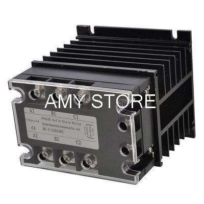 AC-AC 40A 90-280VAC/380VAC 3 Phase SSR Solid State Relay w Black Heat Sink normally open single phase solid state relay ssr mgr 1 d48120 120a control dc ac 24 480v