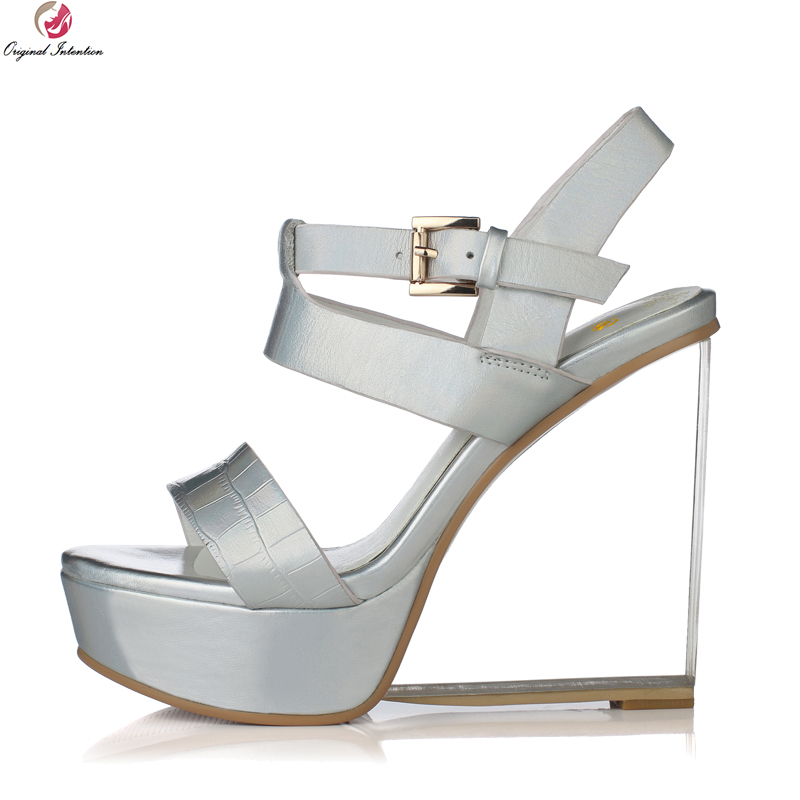 Original Intention Sexy Women Sandals Real Leather Open Toe Stylish Wedges Sandals Fashion Gold Silver Shoes