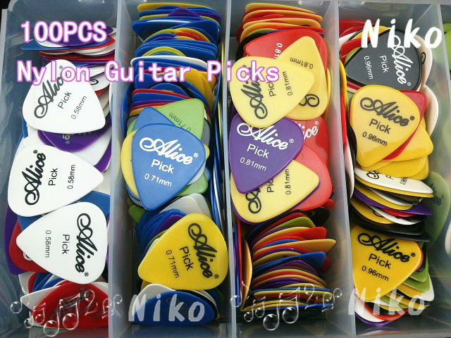 Lots of 100pcs Alice Smooth Nylon Guitar Picks Plectrums(Assorted thickness&colors) Free Shipping Wholesales