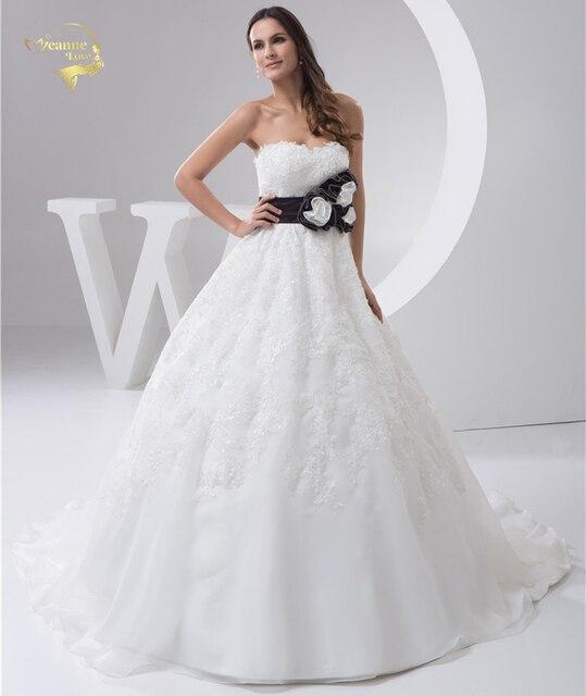 2019 White Louisvuigon Vestido De Noiva Robe De Mariage Bridal Flower A Line Applique Lace Wedding Dresses Sweetheart YN 9510