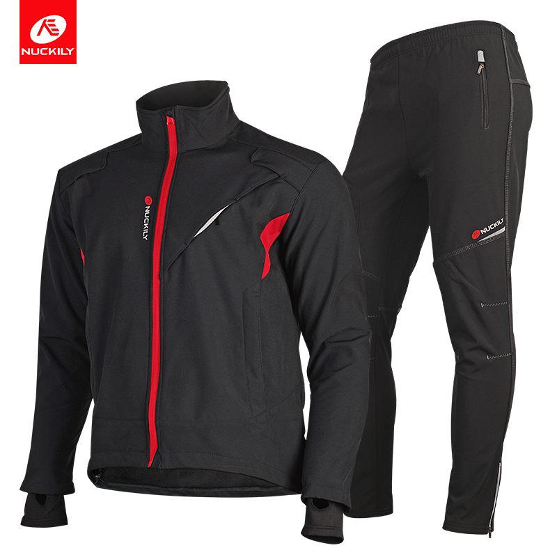 NUCKILY Winter Cycling Sets Windproof Bicycle Jersey Thermal Road Bike Jacket and Pants Suit Riding Clothes