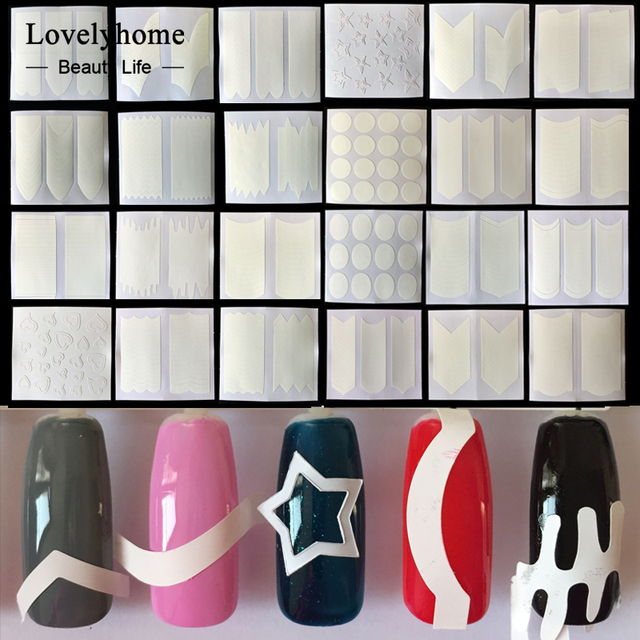 Wholesale 24pcs Nails Sticker Tips Guide French Manicure Nail Art Decals Form Fringe Guides DIY Sencil Styling Beauty Tools