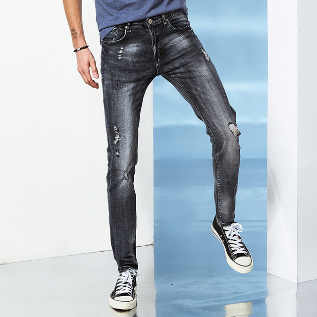 935ce86ce Pantalones vaqueros de los hombres Jeans de Moda tipo Delgado color Sólido  de la alta Calidad