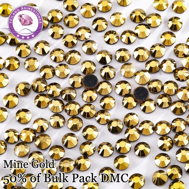 High Quality Bulk Pack  Color Mine Gold DMC Hotfix Rhinestones For Clolthing Bags Shoes DIY Decoration Super Shiny