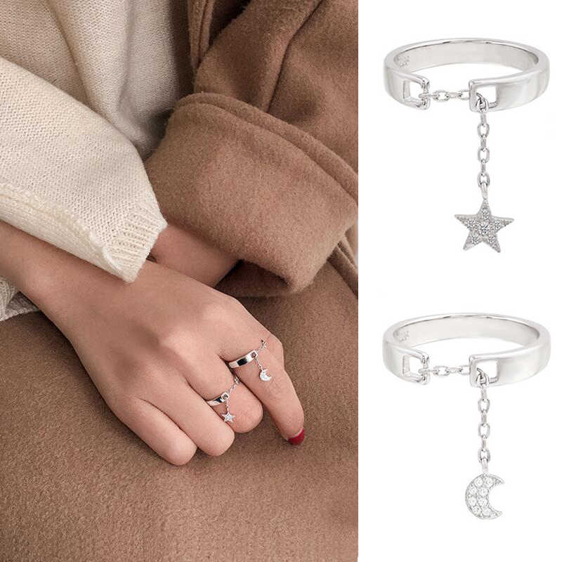 Jisensp Cute Moon Open Rings for Women Gift Tiny Star Ring Jewelry Wedding Party Female Finger Rings Bijoux 925 Crystal Ringen