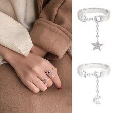 Jisensp милые открытые кольца с Луной для женщин подарок крошечная