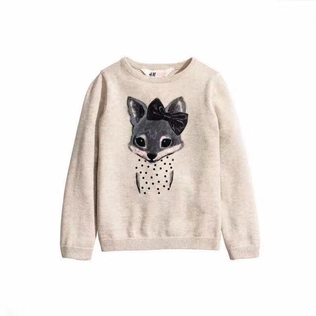 2016 Meninas do bebê de Malha de algodão Camisola Little Foxes pulôveres crianças gola redonda camisola Por Atacado 2017