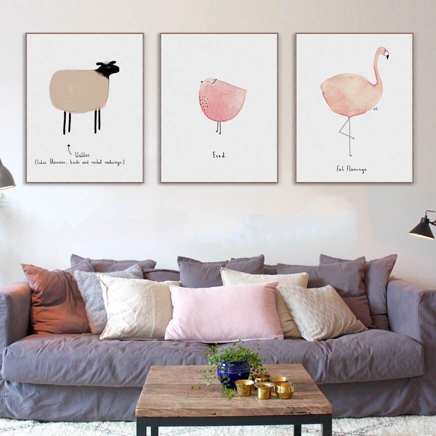 Acuarela Kawaii Animales Flamingo LLama Pósters e impresiones Habitación para niños de bebés Arte de la pared Imágenes Decoración para el hogar Pintura sobre lienzo Sin marco
