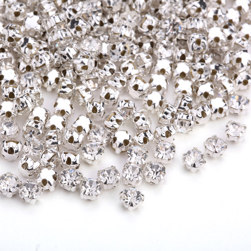 Sew On 3D Flatback Glass Crystal Rhinestones Round Claw Cup Beads lot 4//5//6//8mmm