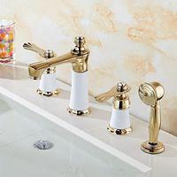 Бесплатная доставка; Роскошные Водопад ванна кран Для ванной комнаты ванна смесители с руки 4 шт. комплект Для ванной UB вентиль бассейна