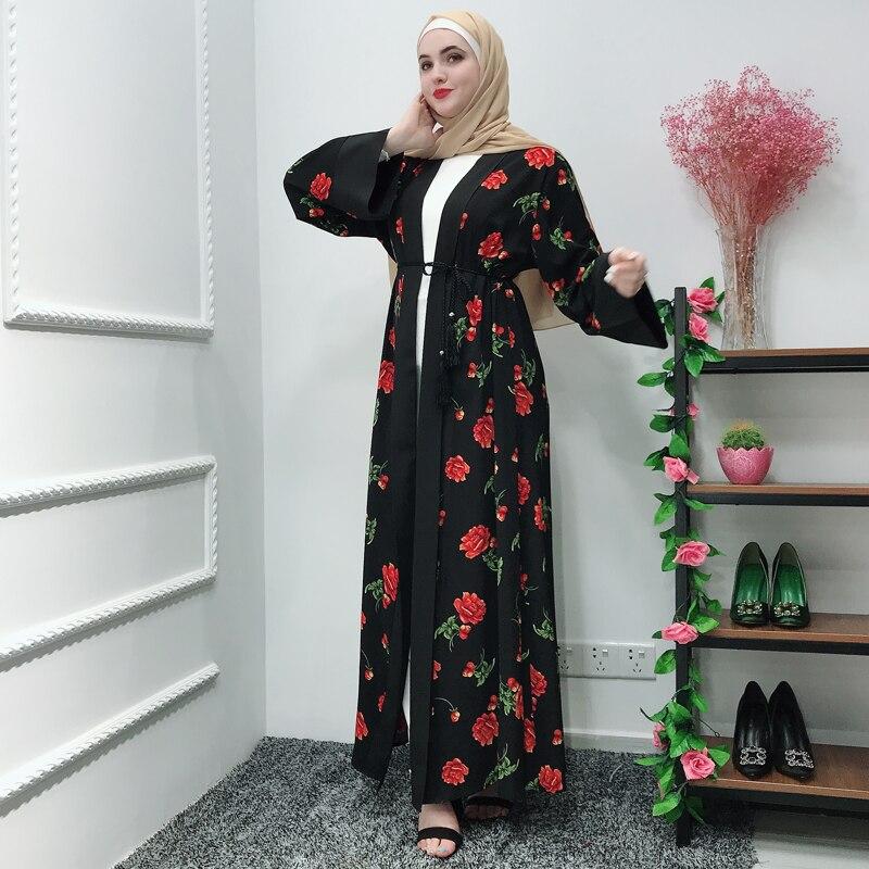 Black Muslim Dress Abaya Dubai Kimono Cardigan Abayas For Women Turkish Islamic Clothing Robe Femme Musulmane Marokkaanse Kaftan
