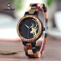 BOBO BIRD P14 Lover's Wood Watches Colorful Wood Band Dear Head Watch Dial Men Women Quartz Watches