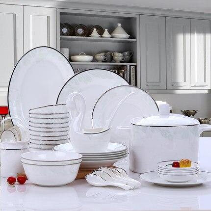 US $374.49 30% OFF Fashion 2019 Dish Set Chinese Minimalist Bone China  Utensils 56 Pieces Korean Dishes Kitchen Tableware Bowl Household  Dinnerware-in ...