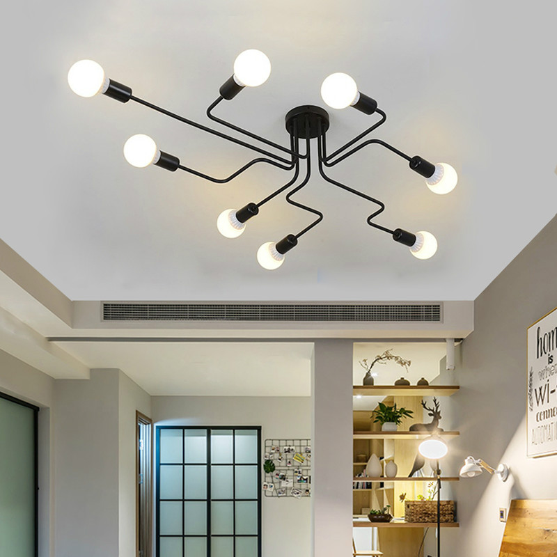 Ceiling Lights Multiple Rod Wrought Iron  for Living Room Vintage Industrial Ceiling Lamps for Home Lighting Fixtures Kitchen 1